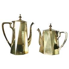 Art Deco Teapot and Coffe Pot, Brass, 1920s-1930