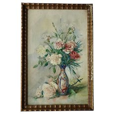 Watercolor on Paper, Flowers in Vase, Framed and Signed, Belgium, 1930-1940s