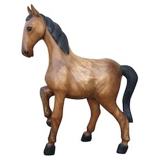 Large Horse Solid Wood Statue Carved from One Only Piece of Wood, XX Century