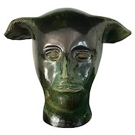 Mask of a Faun, green ceramic sculputure signed JR