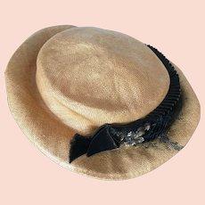 Edwardian Summer Straw Boater Hat, Suffragette Hat, 1900s