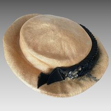 c1921 Gentleman s Straw Boater Hat c8c8ca2e6664