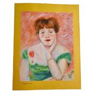 "Pastel on Yellow Paper, Woman with Green Dress ""D'àpres Renoir"", XX Century"