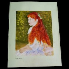 "Pastel on Green Paper, Girl with Red Hair ""D'àpres Renoir"", XX Century"