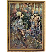 """Oil on Canvas, """"Children in a Flower Garden"""", British School, end 19th to early 20th Century"""