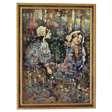 "Oil on Canvas, ""Children in a Flower Garden"", British School, end 19th to early 20th Century"