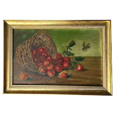 Small Antique Painting with Cherries and Insects, 19th Century