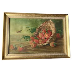 Small Antique Painting with Strawberries and Insects, 19th Century
