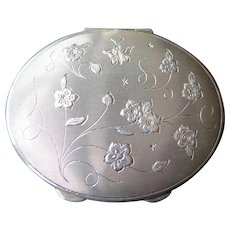 Sterling Silver Compact Case with Carved Flowers and Mirror, 1940s-1950s