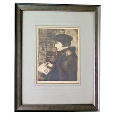 "Antique Etching ""Erasmus"" after Holbein the Young, Framed, Signed"