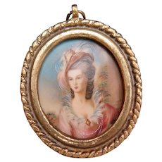 Hand Painted Miniature in Brass Frame, Lady with Pink Dress, Early to Mid 1900s