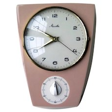 Pink Ceramic Kitchen Wall Clock with Timer by Mauthe, 1960s