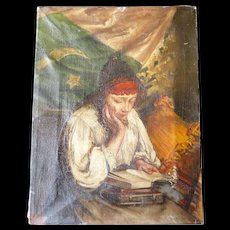 Antique Oil Painting, Woman Reading Books, Uyghurstan Flag, early 1900s