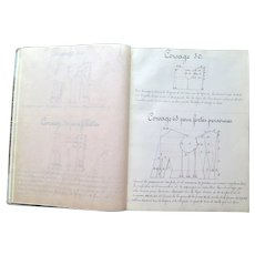 Large French Handwritten Book with Sewing Instruction and Patterns, 1926