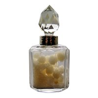Crystal and Sterling Silver Salts Bottle with Original Content, Henry Perkins and Sons, London 1924
