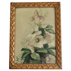 Reserved - Oil Painting, Spring Flowers in Gold Tone Frame, Early 1900s