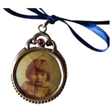 Victorian Photo Pocket Watch Fob / Necklace Pendant, Early 1900s