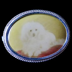 Small Pin Brooch with a White Dog, ca. 1920