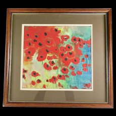 Original Painting, Red Poppies, 1980s