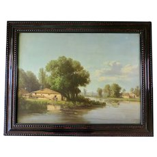 Fine Oil on Canvas, Lake Landscape, France 1850s