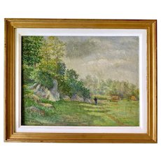 Charming Impressionist Oil Painting by L. Ramillon, France 1906 (late Barbizon School)