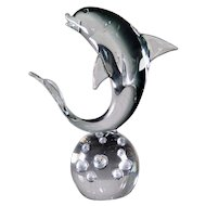 Murano Dolphin Sculpture on a Bubble Glass Ball, Mid Century