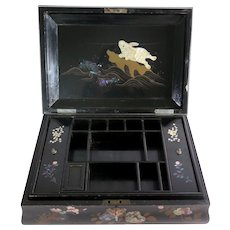 Antique Japanese Mother of Pearl and Lacquer Jewelry Casket, 1800s