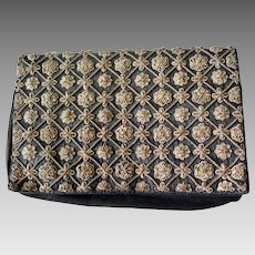 Vintage Goldembrodery Purse, Zardozi Silver Embroidered Clutch, Evening Bag