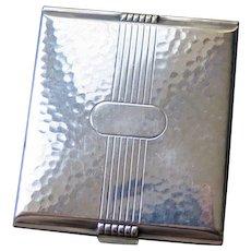 Art Deco Hammered Silver Plate Cigarette Case, 1930s-40s