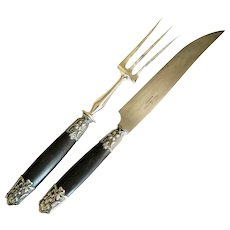 French Art Nouveau Carving Set, Dark Wood and Silver Metal with Repusse Wood Violets, Early 1900s
