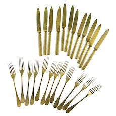 Set of 12 Gold Tone Cake Forks and Knives