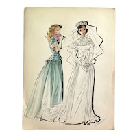 Original Ink and Watercolor Fashion Drawing, 1940s