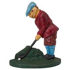 """Painted cast iron """"Golfer"""" door stop"""