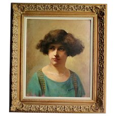 French Oil on Canvas, a Lady's Portrait, Signed and Framed, 1914