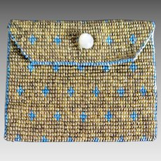 French Steel Beaded Coin Purse with MOP Button, France Early 1900s