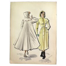 RESERVED <<<< Original Ink and Watercolor Fashion Drawing, 1940s