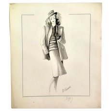 Vintage Fashion Drawing, Lady with Hat, 1940s