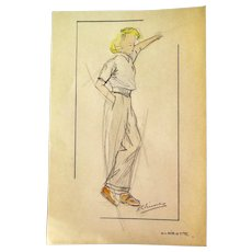 Small Original Fashion Drawing, Lady with Trousers, 1940s