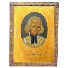 French Painting of St. John Vianney, Signed and Framed, Early 1900s