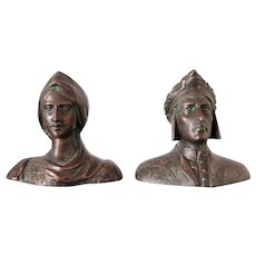 Two Small Bronze Busts of Dante and Beatrice, Early 1900s