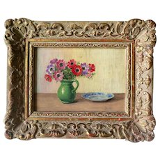 RESERVED FOR H. <<< Small Flemish Painting, Signed, in Ornate Gilt Frame, Early 1900s