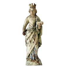 Renaissance Polychrome Wood Statuette of Elizabeth of Hungary, 1600s