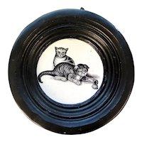 Victorian Cats Art Work on Ceramic, England 1800s