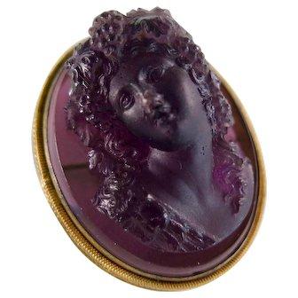 Victorian Pâte de Verre Cameo High Relief Brooch, 1800s-1900s