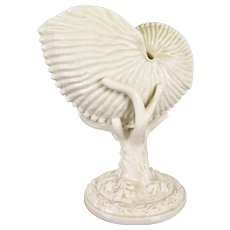 Victorian Shell Vase, Royal Worcester Nautilus Shell on Coral Base, England 1800s