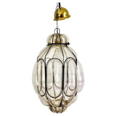 Italian Blown Glass Pendant Light, Mid Century