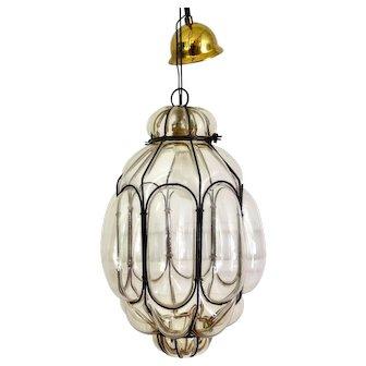 Italian Blown Glass Pendant Light, Mid Century
