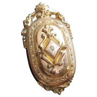 Victorian French Locket, Rolled Gold, Seed Pearl, 1800s