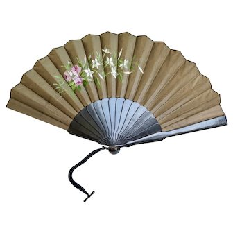 Victorian Hand Fan with Hand Painted Flowers, 1800s