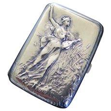 French Art Nouveau Silver Plate Cigarette Case by Dropsy, End 1800s